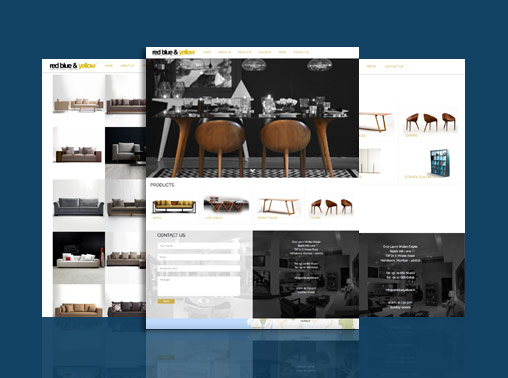 Red Blue Yellow Wordpress Website for Furniture Store